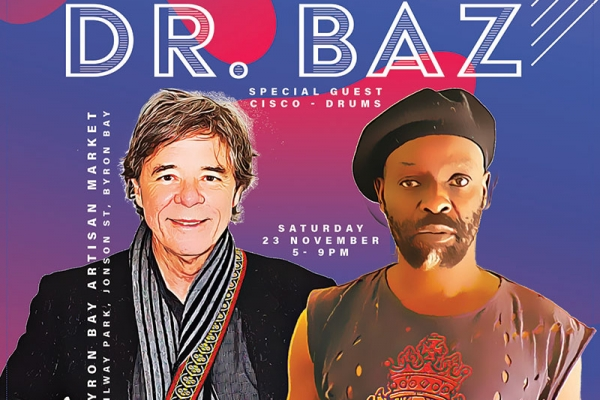 Kobya & Barry Ferrier aka Dr. Baz aka Barry Ferrier play the Byron Artisan Market